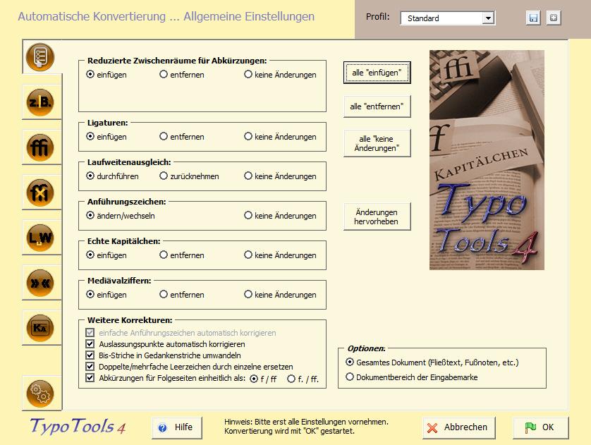 Screenshot vom Programm: TypoTools